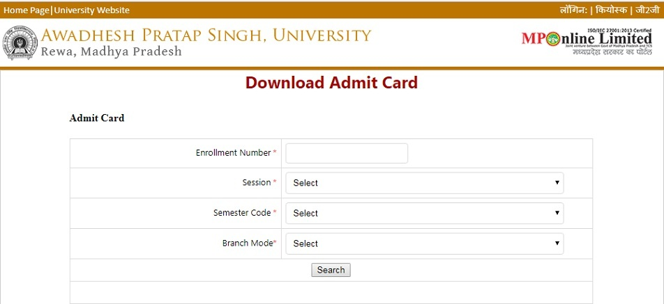 APSU Admit Card 2019