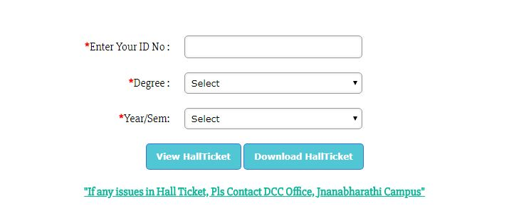 Bangalore University Hall ticket