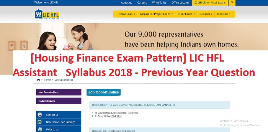 [Housing Finance Exam Pattern] LIC HFL Assistant Syllabus 2018 - Previous Year Question Paper