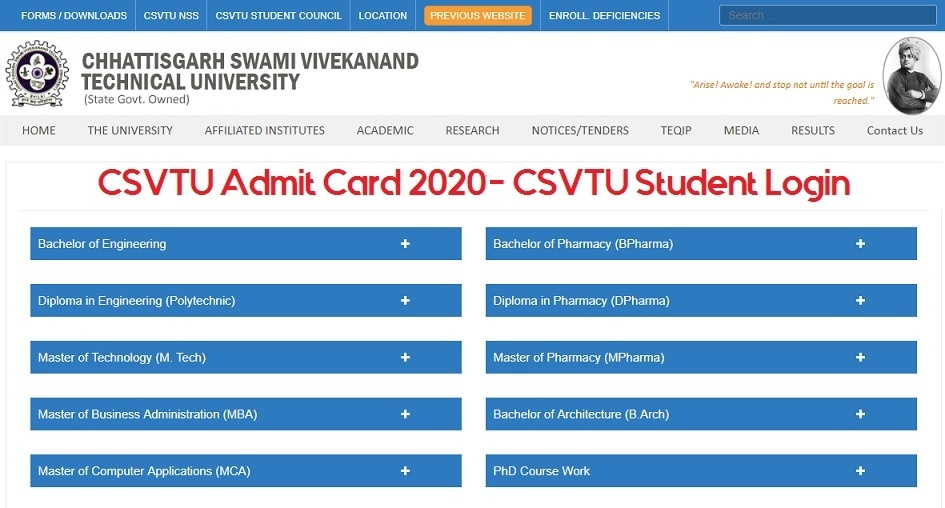 {csvtu.ac.in} CSVTU Admit Card 2020 - CSVTU Student Login