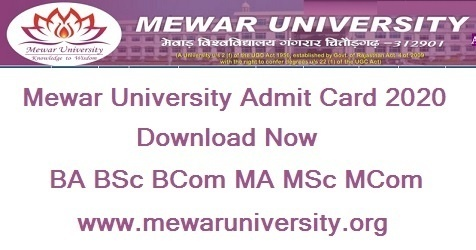 [Download] Mewar University Admit Card 2020 - mewaruniversity.org {MUEE2020}