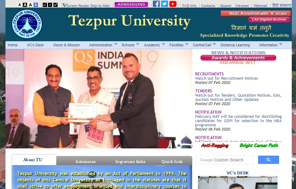 Tezpur University Admit Card