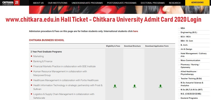 Chitkara University Admit Card