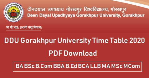 DDU Gorakhpur University Time Table 2020 PDF Download