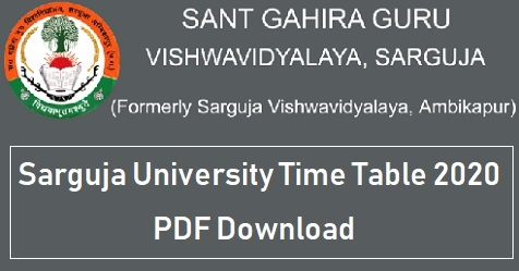 Sarguja University Time Table 2020 PDF Download